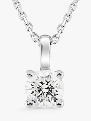 Brown & Newirth 9ct White Gold Diamond Round Pendant Necklace, 0.20ct