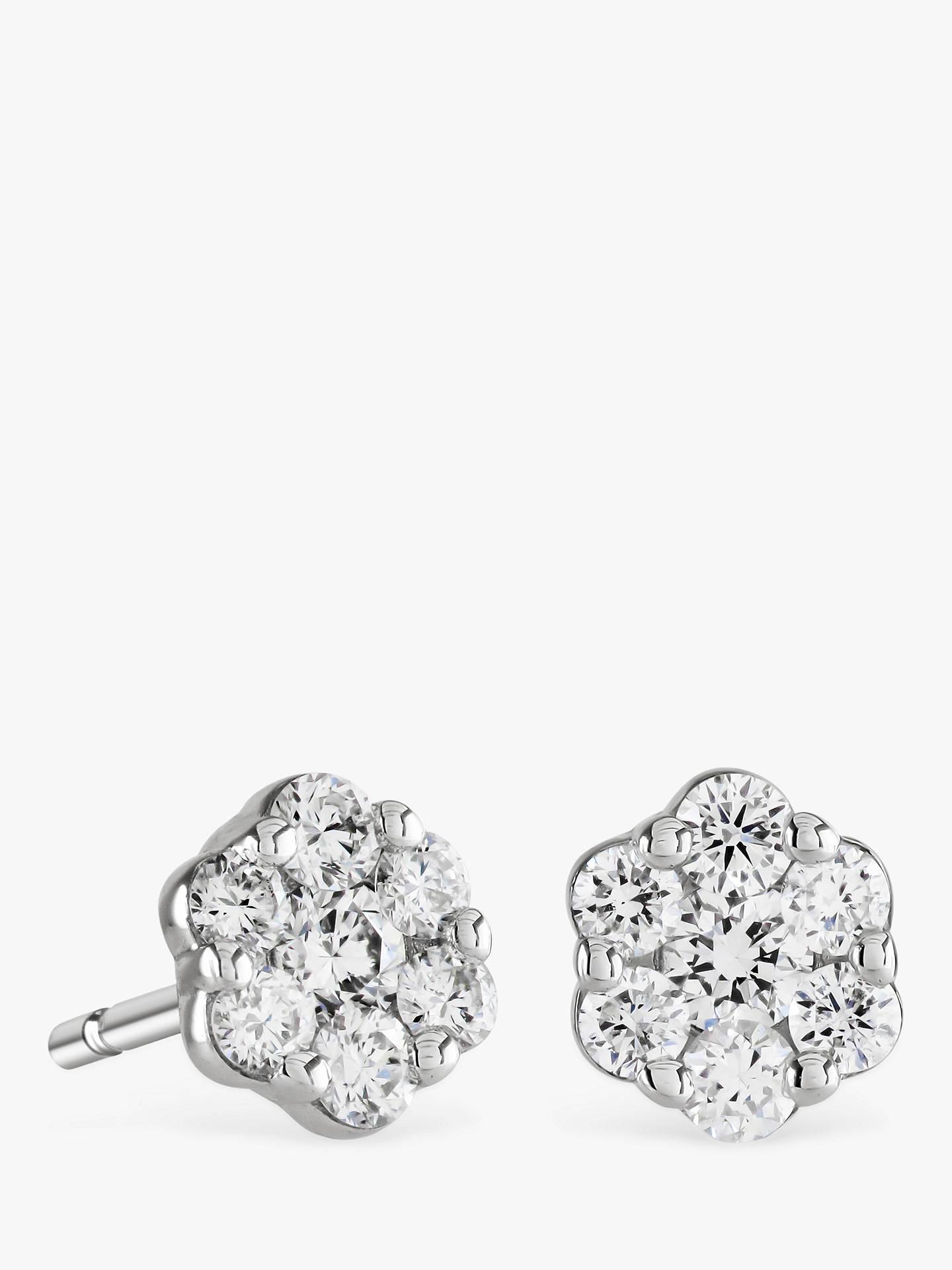 Buy Brown & Newirth 9ct White Gold Diamond Flower Stud Earrings, 0.30ct Online at johnlewis.com