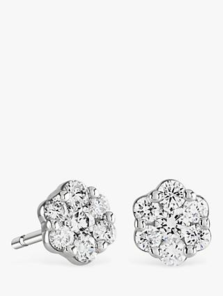 Brown Newirth 9ct White Gold Diamond Flower Stud Earrings 0 30ct