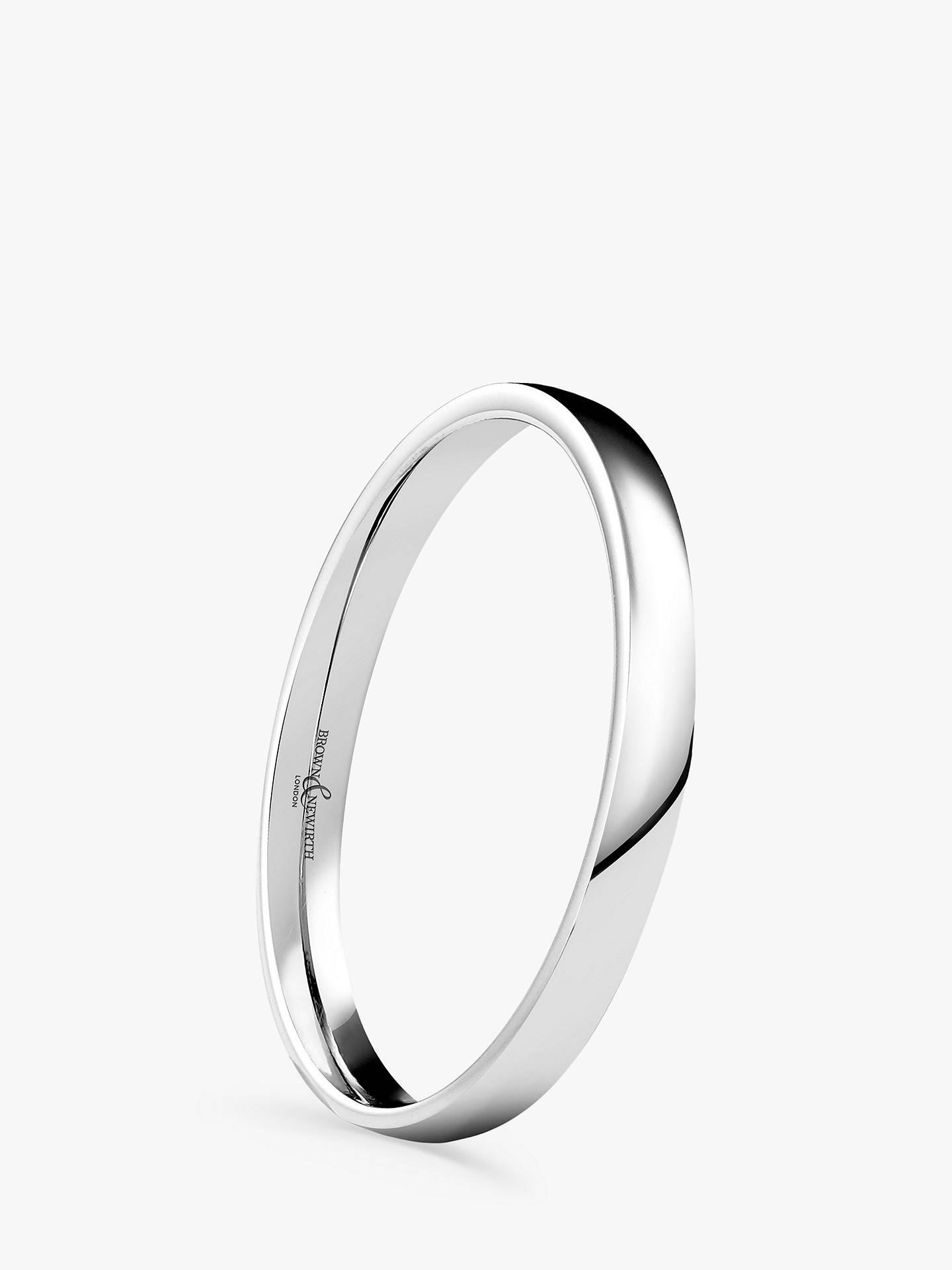 Buy Brown & Newirth Women's 9ct White Gold 2mm Low Dome Court Shape Wedding Ring, L Online at johnlewis.com