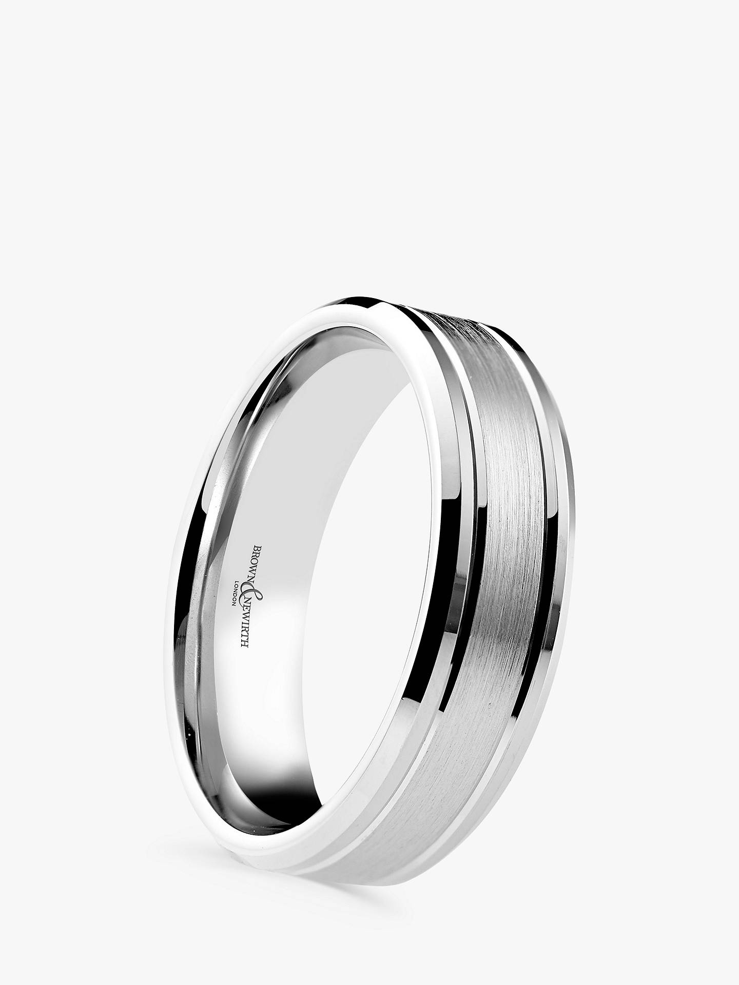 BuyBrown & Newirth Men's Palladium 6mm Brushed and Polished Court Shape Wedding Ring Online at johnlewis.com