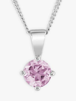 Brown & Newirth 9ct White Gold Pink Sapphire Round Pendant Necklace, 0.50ct