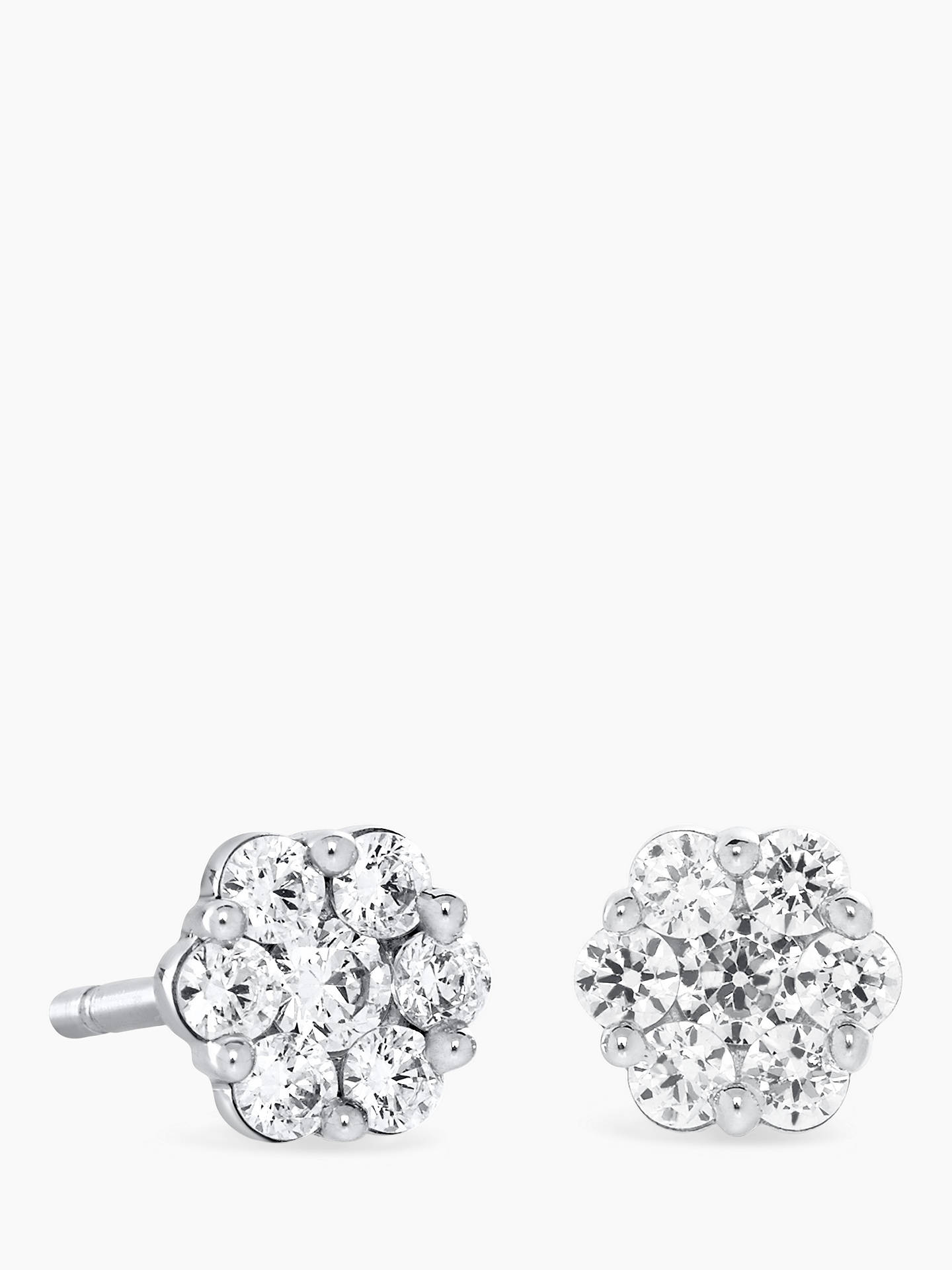 BuyBrown & Newirth 18ct White Gold Diamond Flower Stud Earrings, 0.40ct Online at johnlewis.com