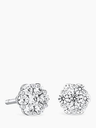 Brown Newirth 18ct White Gold Diamond Flower Stud Earrings