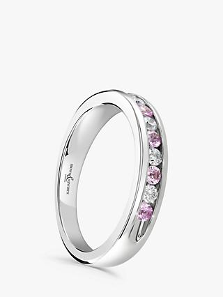Brown & Newirth 18ct White Gold Pink Sapphire and Diamond Half Eternity Ring, 0.50ct