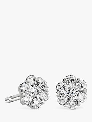 088673cbe Brown & Newirth 9ct White Gold Diamond Flower Stud Earrings, ...