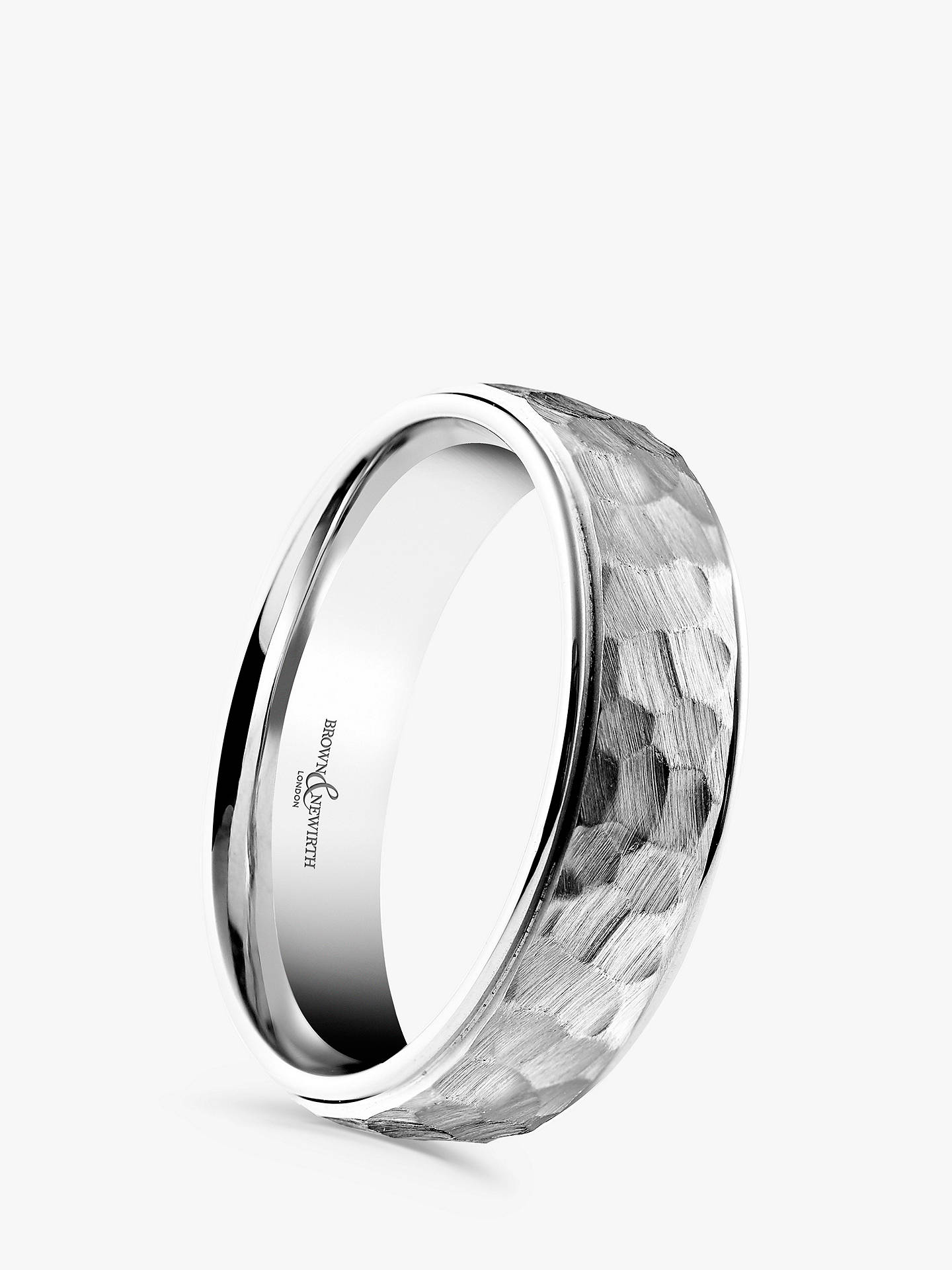BuyBrown & Newirth Men's Palladium 6mm Hammered Dome Court Shape Wedding Ring Online at johnlewis.com