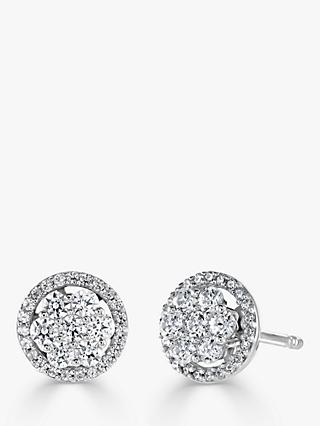 Brown & Newirth 18ct White Gold Diamond Round Stud Earrings, 0.52ct