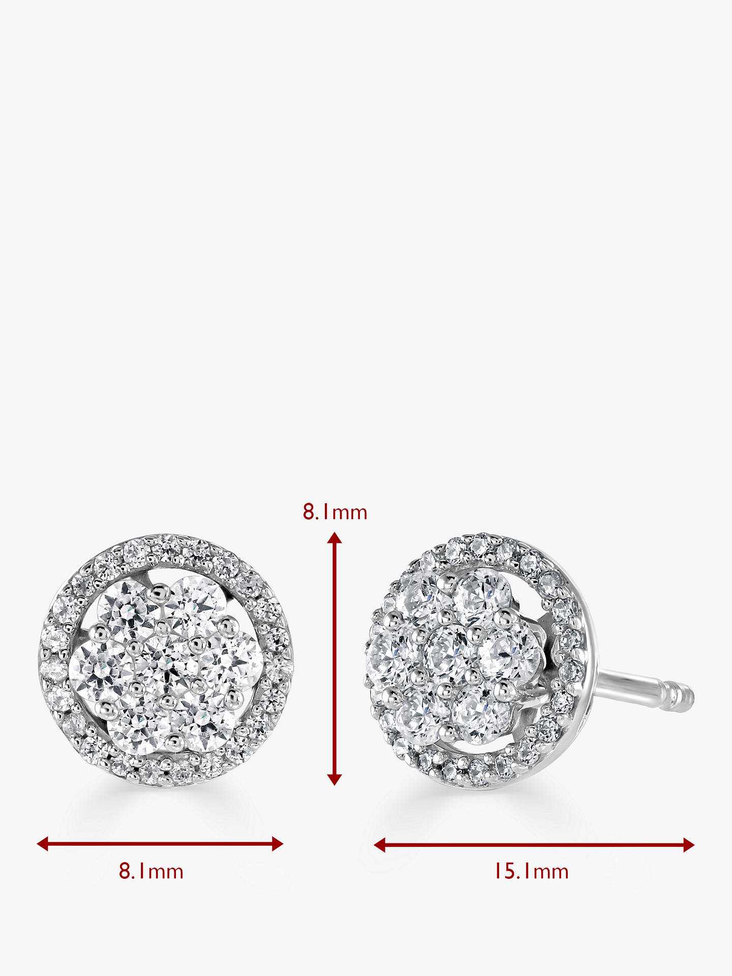 Buy Brown & Newirth 18ct White Gold Diamond Round Stud Earrings, 0.52ct Online at johnlewis.com