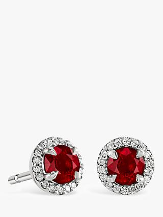 Brown & Newirth 9ct White Gold Ruby and Diamond Round Stud Earrings, 0.28ct