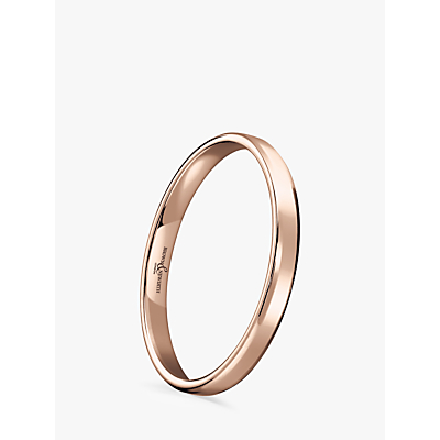 Image of Brown & Newirth Women's 9ct Rose Gold 2mm Softened Court Shape Wedding Ring, N