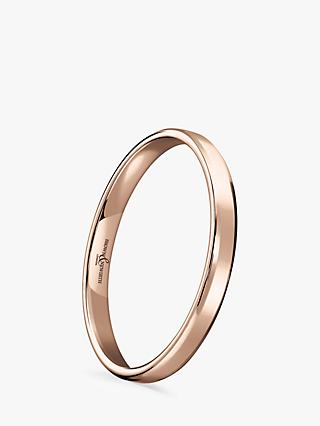 Brown & Newirth Women's 9ct Rose Gold 2mm Softened Court Shape Wedding Ring ...