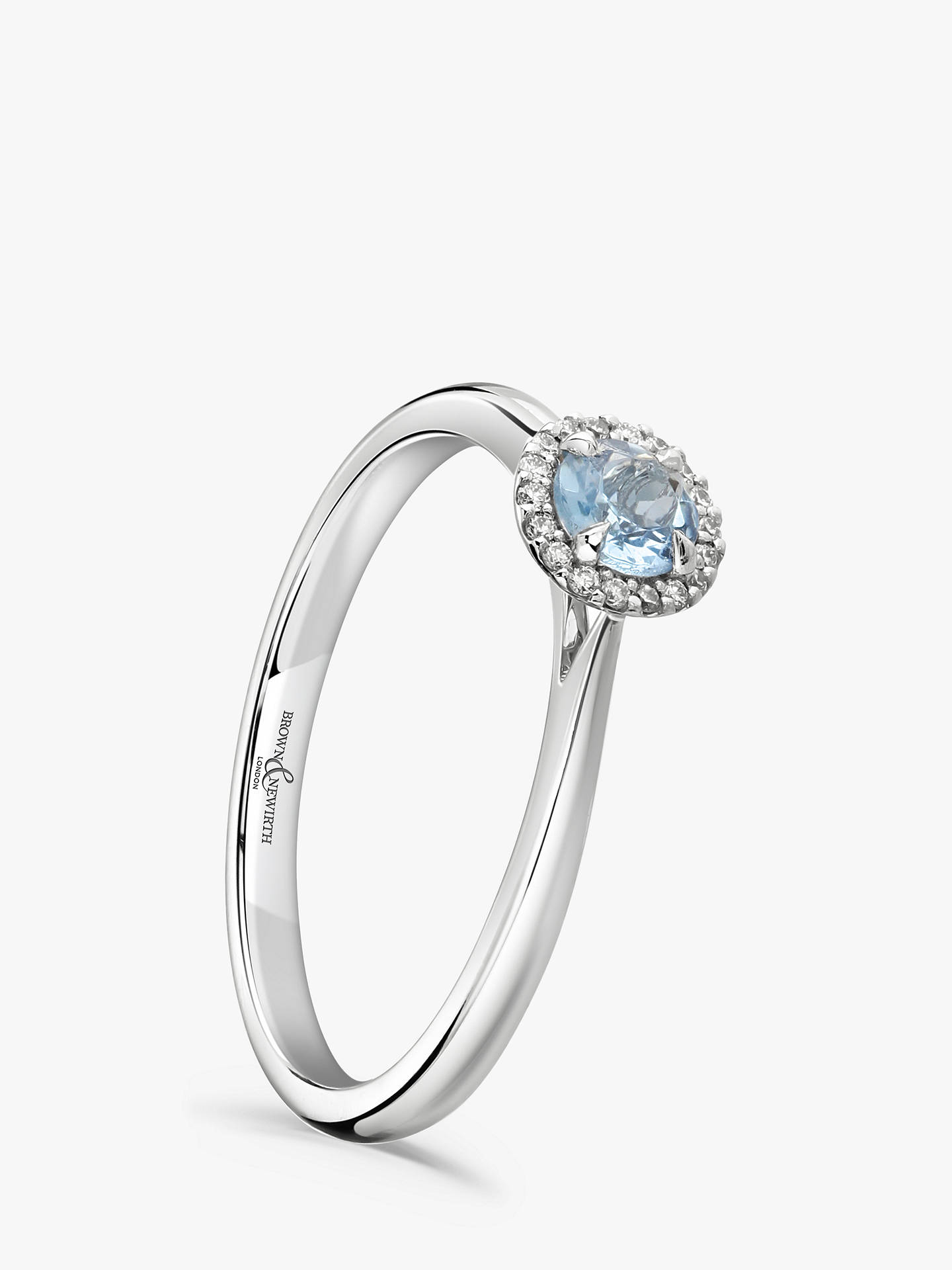 BuyBrown & Newirth 18ct White Gold Round Aquamarine and Diamond Cluster Engagement Ring, 0.03ct Online at johnlewis.com