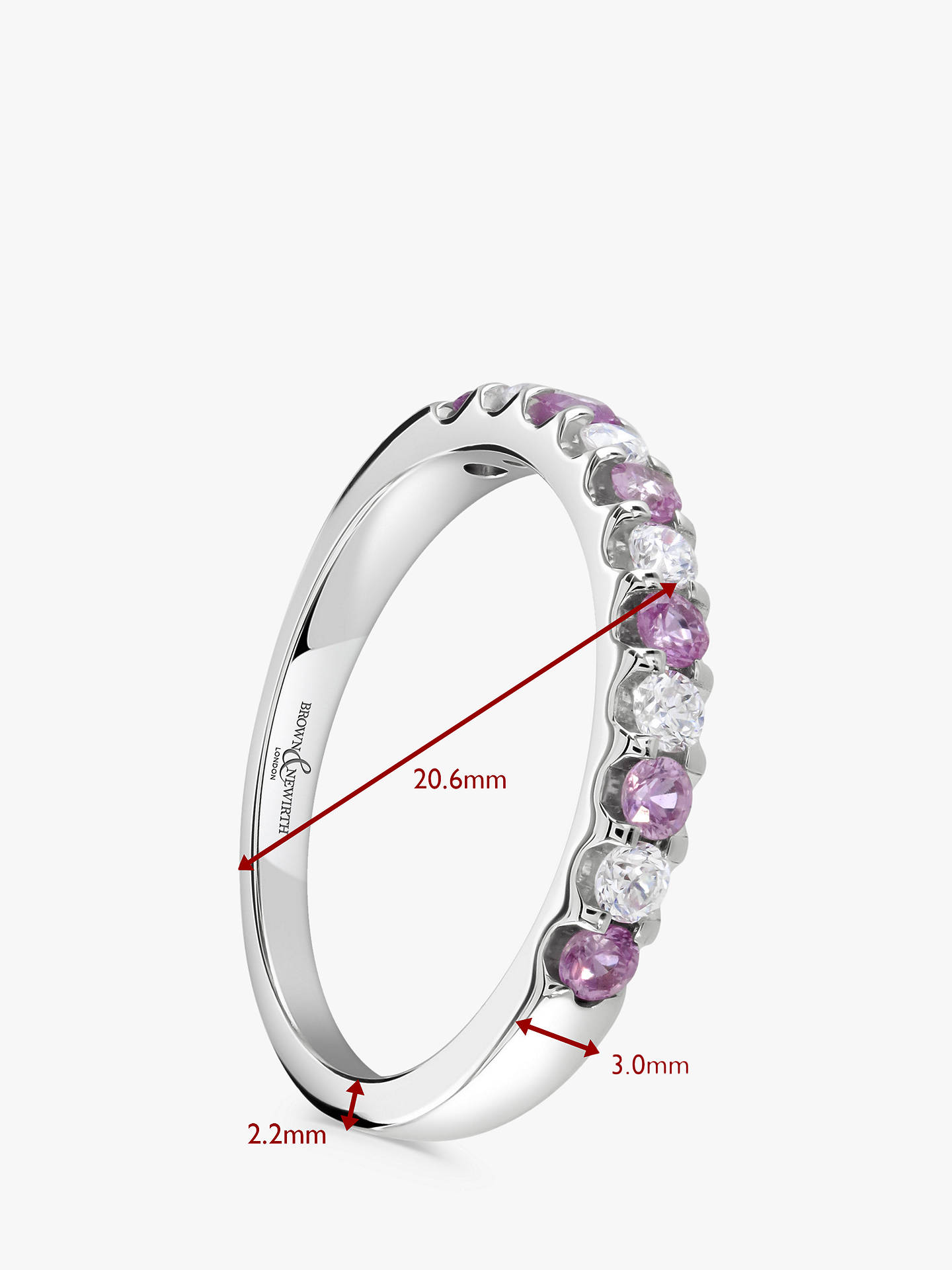 BuyBrown & Newirth 18ct White Gold Pink Sapphire and Diamond Half Eternity Ring, 0.50ct Online at johnlewis.com