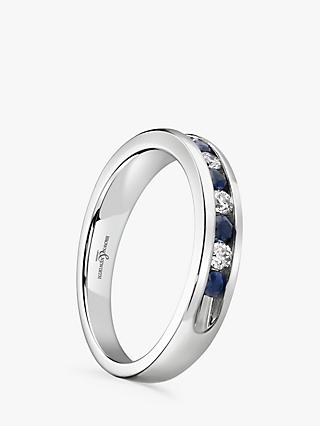 Brown & Newirth 18ct White Gold Sapphire and Diamond Half Eternity Ring, 0.50ct