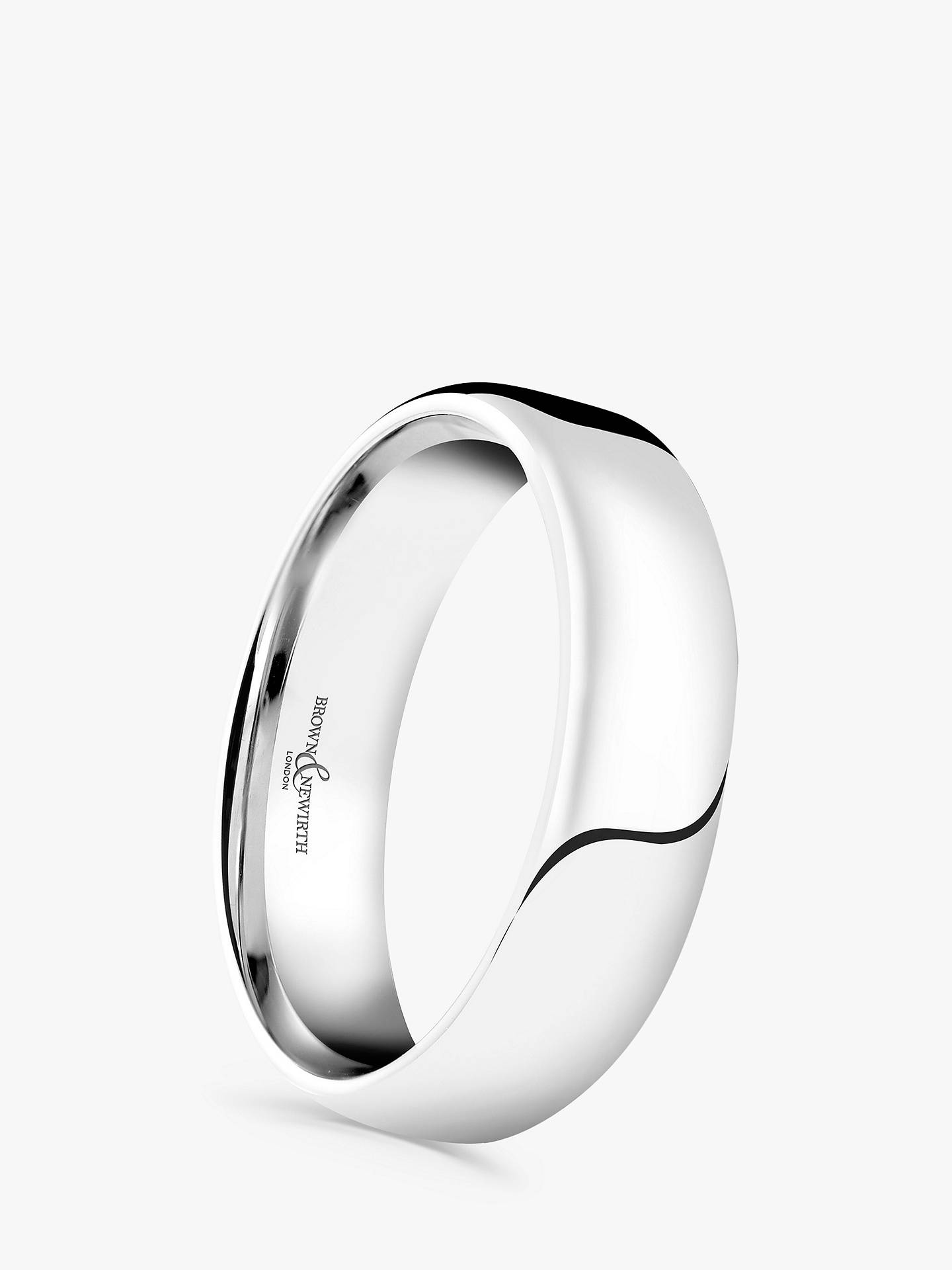 BuyBrown & Newirth Men's Platinum 5mm Softened Court Shape Wedding Ring, S Online at johnlewis.com