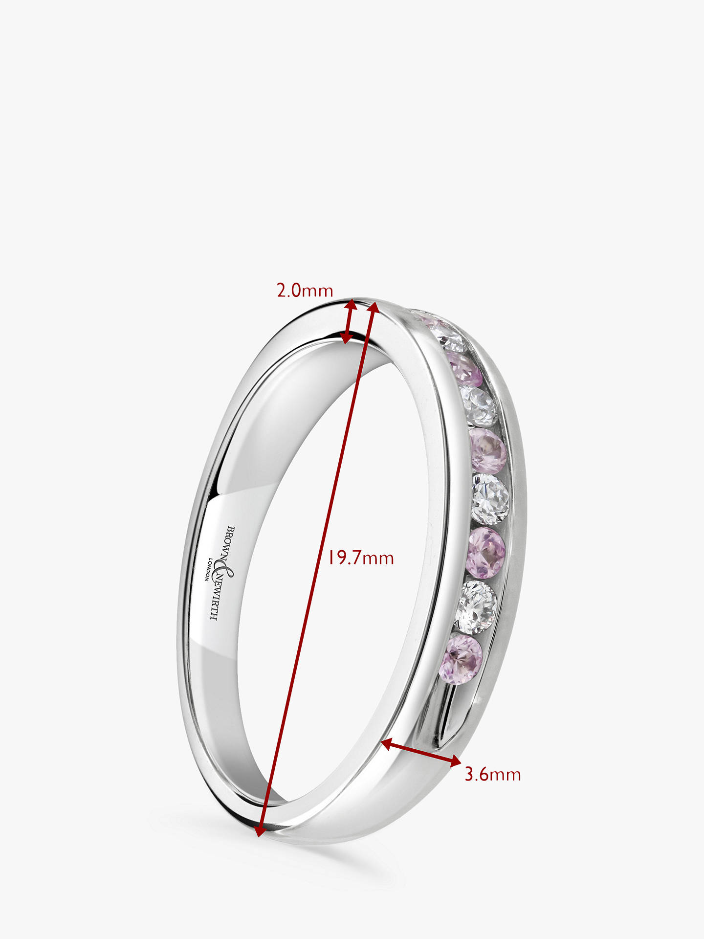 Buy Brown & Newirth 18ct White Gold Pink Sapphire and Diamond Half Eternity Ring, 0.33ct Online at johnlewis.com