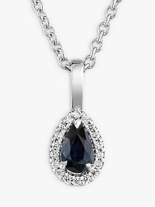 Brown & Newirth 9ct White Gold Sapphire and Diamond Pendant Necklace, 0.28ct
