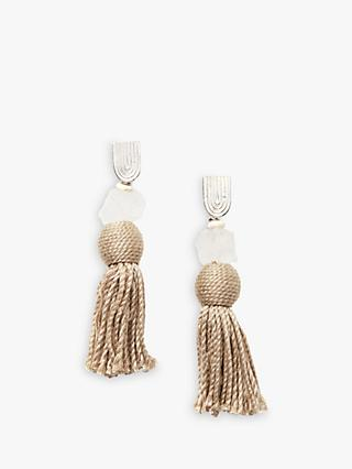Nectar Nectar Howlite and Crystal Tassel Drop Earrings, Sand/Multi