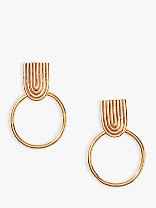 Nectar Nectar Textured Circle Drop Earrings, Gold