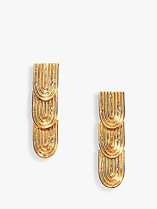 Nectar Nectar Textured Long Drop Earrings, Gold