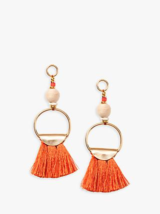 Nectar Nectar Silk Thread Tassel Ring Drop Earrings, Orange/Gold