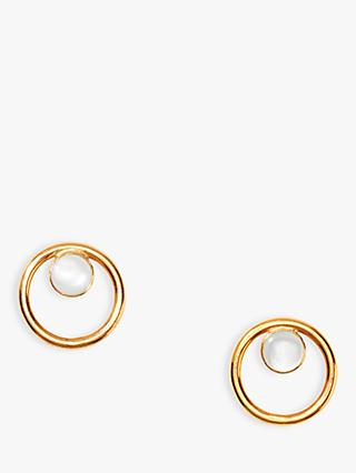 Nectar Nectar Mother of Pearl Circle Stud Earrings, Gold/White