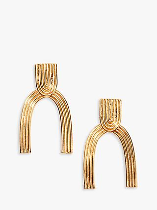 Nectar Nectar Textured Wishbone Drop Earrings, Gold
