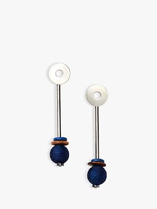 Nectar Nectar Lapis Lazuli Long Bar Drop Earrings, Silver/Navy