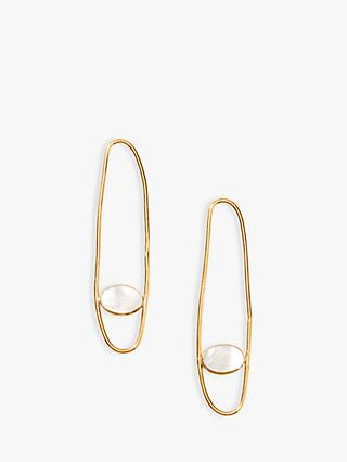 Nectar Nectar Mother of Pearl Oval Drop Earrings, Gold/White