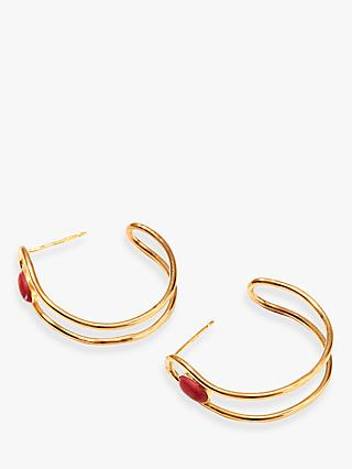 Nectar Nectar 18ct Gold Plated Gemstone Semi Hoop Earrings, Gold/Coral