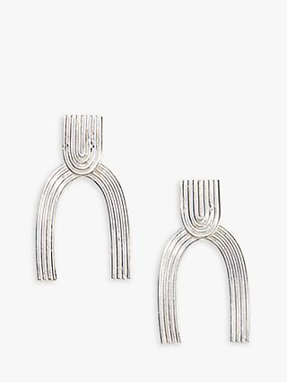 Nectar Nectar Textured Wishbone Drop Earrings, Silver