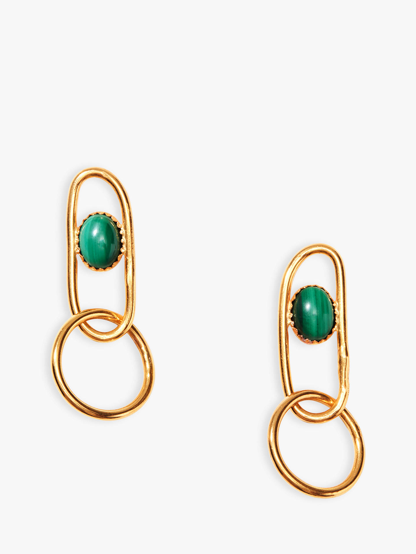 Buy Nectar Nectar Malachite Oval Link Drop Earrings, Gold/Green Online at johnlewis.com
