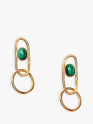 Nectar Nectar Malachite Oval Link Drop Earrings, Gold/Green