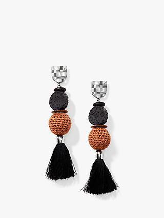 Nectar Nectar Silk Thread Tassel Crochet Bead Drop Earrings