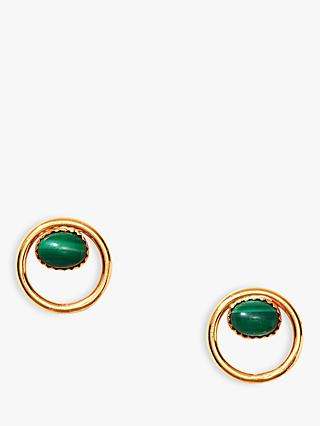 Nectar Nectar Malachite Circle Stud Earrings, Gold/Green
