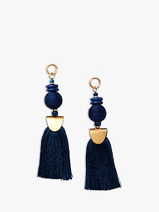 Nectar Nectar Silk Thread Tassel Drop Earrings, Navy/Gold