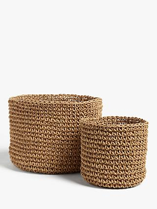 John Lewis & Partners Fusion Paper Rope Baskets, Set of 2