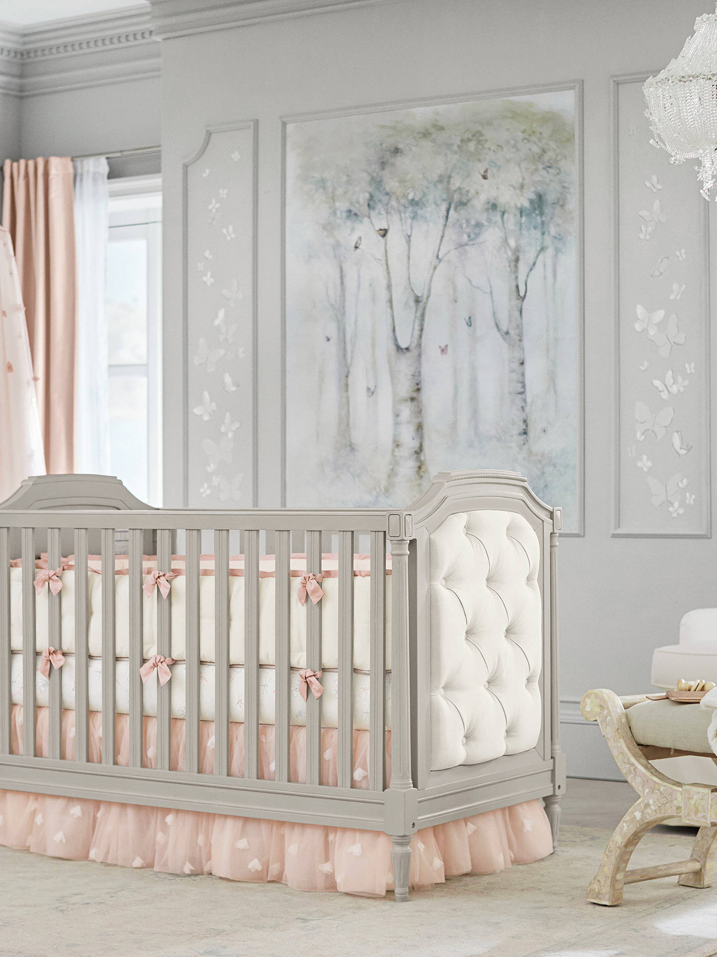 BuyPottery Barn Kids Monique Lhuillier Tulle Butterfly Crib Skirt, Blush Pink Online at johnlewis.com