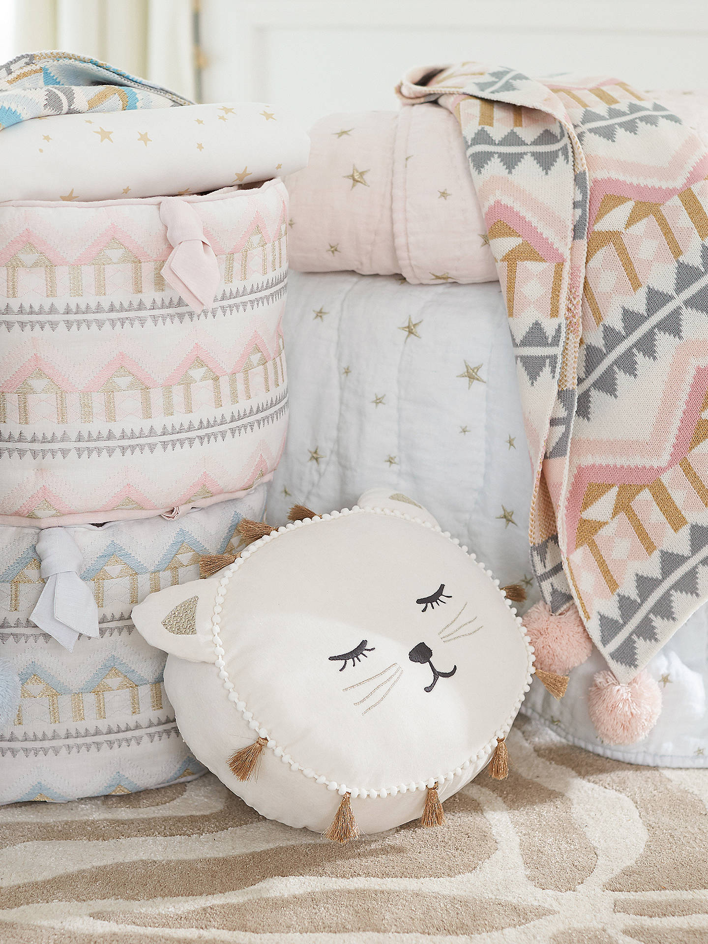 BuyPottery Barn Kids Emily & Meritt Cat Shaped Pillow, White Online at johnlewis.com