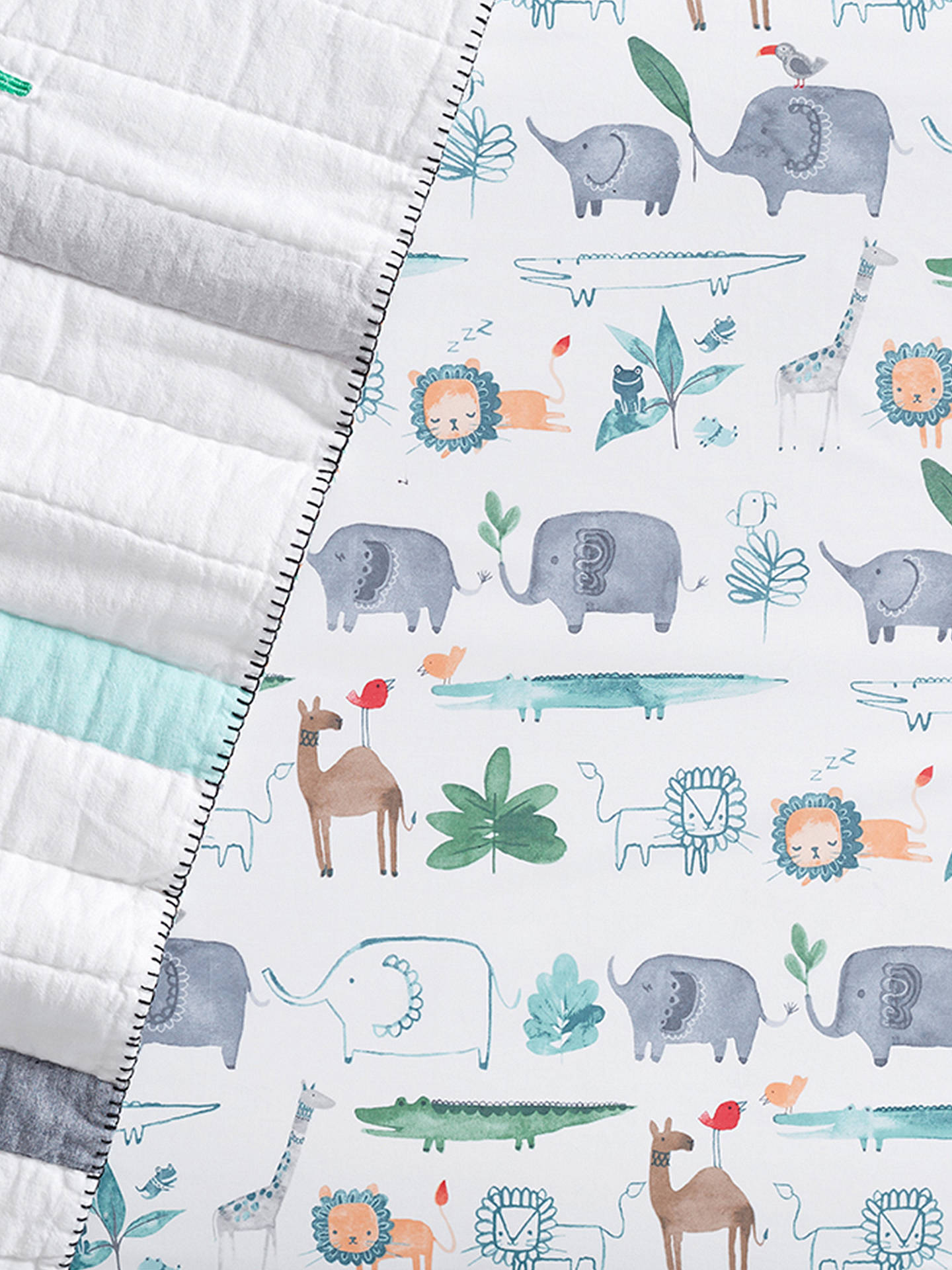Buy Pottery Barn Kids Organic Cotton Animal Print Fitted Crib Sheet, 70 x 132cm, Multi Online at johnlewis.com