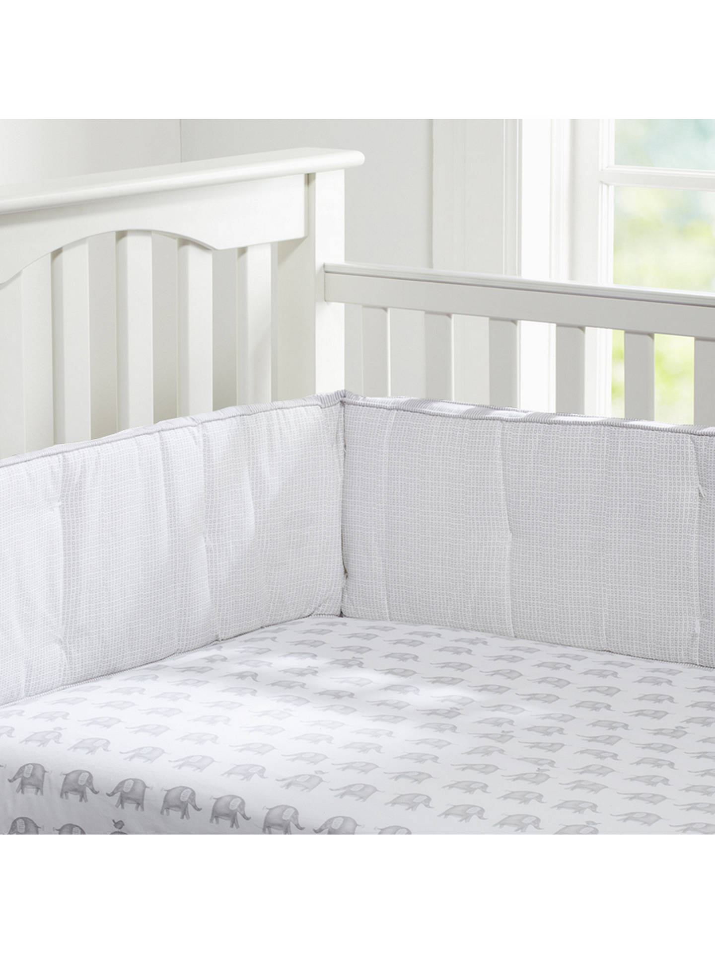 BuyPottery Barn Kids Taylor Elephant Fitted Crib Sheet, Grey, 70 x 132cm Online at johnlewis.com