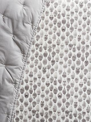Pottery Barn Kids Owl Print Fitted Cot Sheet, Grey, 31 x 17cm
