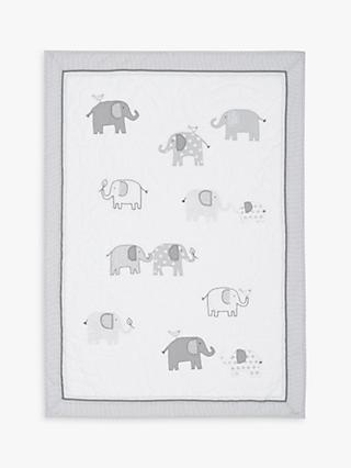 Pottery Barn Kids Taylor Organic Cotton Elephant Quilt, Grey, 91 x 127cm
