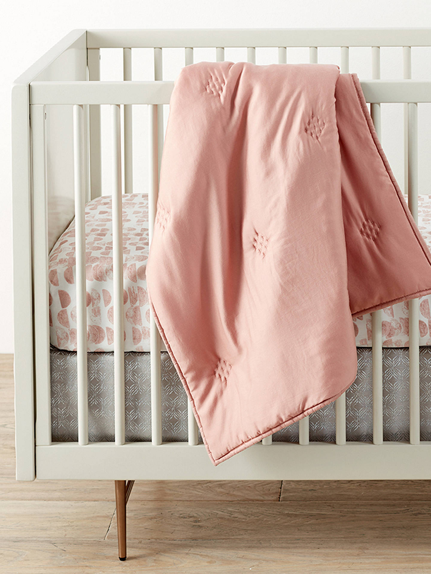 BuyPottery Barn Kids Half Moon Crib Fitted Sheet, 70 x 132cm, Pink Rosette Online at johnlewis.com