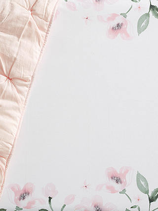 Buy Pottery Barn Kids Floral  Fitted Cot Sheet, 16 x 30cm, Pink Online at johnlewis.com