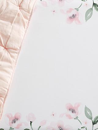 Pottery Barn Kids Floral Fitted Cot Sheet, 16 x 30cm, Pink