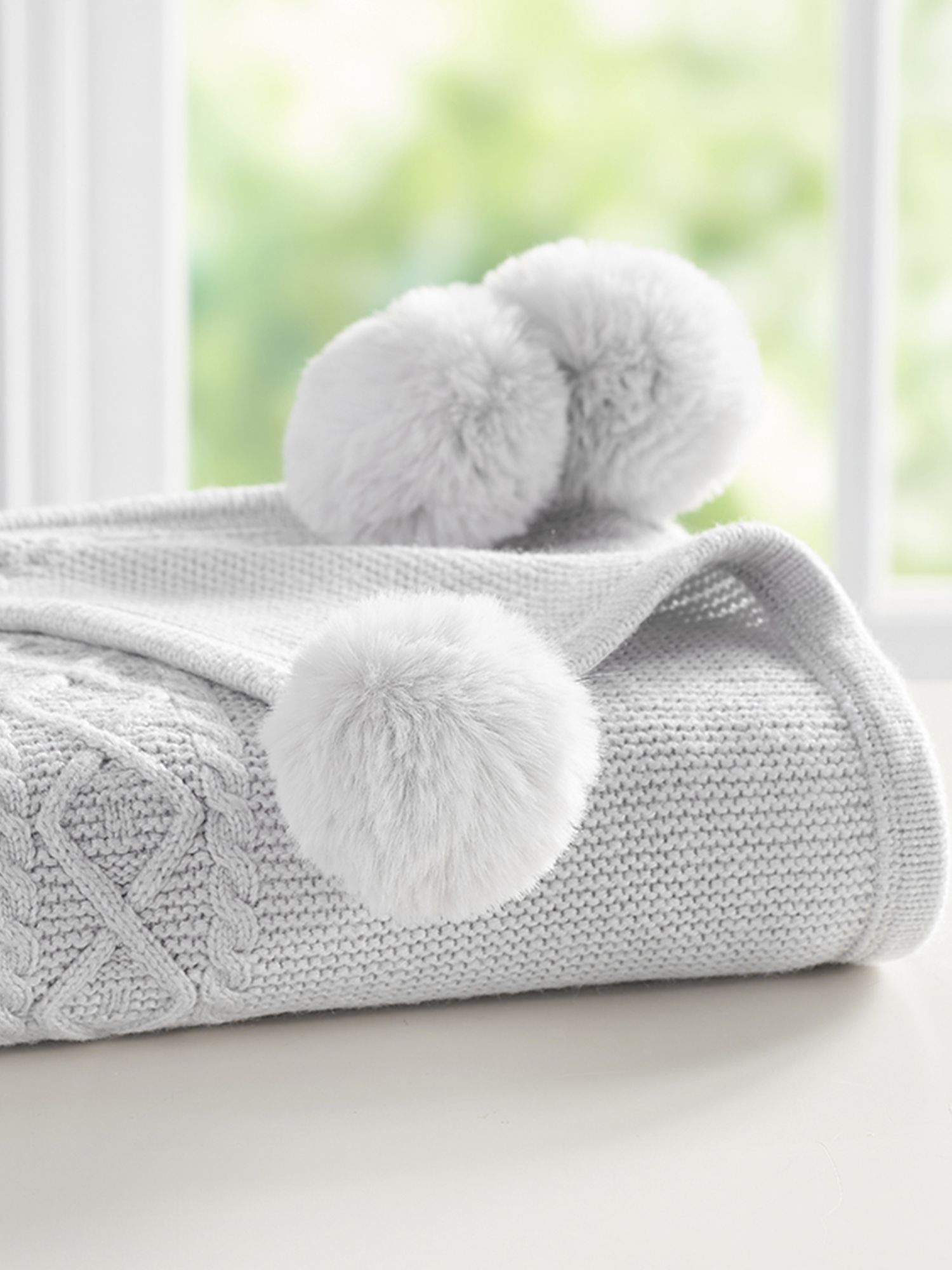 Pottery Barn Kids Cable Knit Pom Pom Baby Blanket Grey At John Lewis Partners