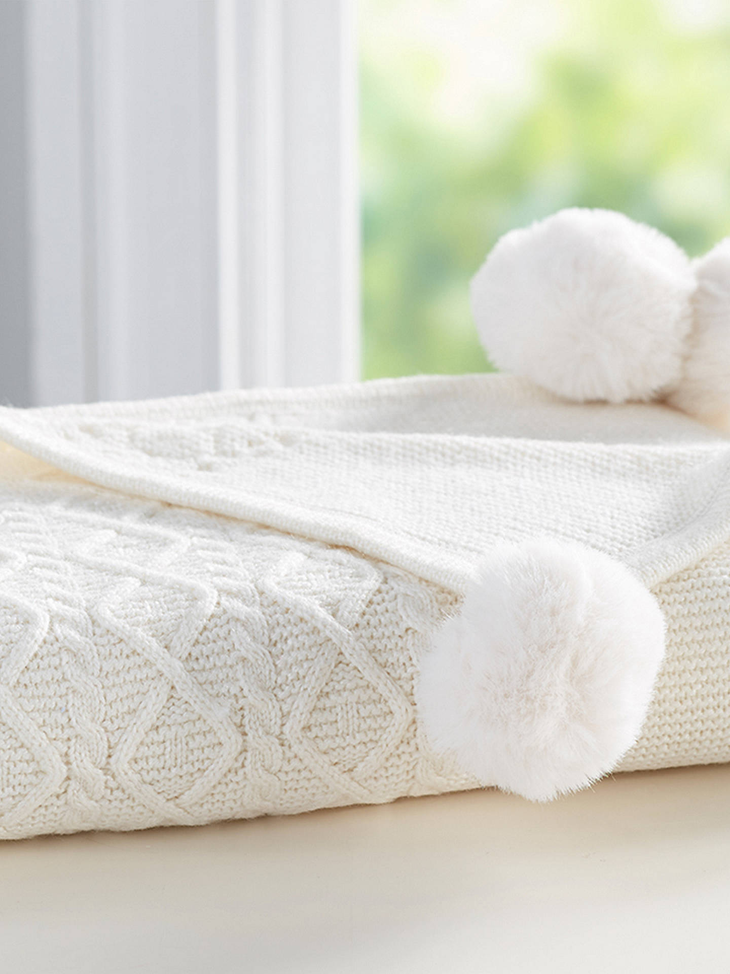 BuyPottery Barn Kids Cable Knit Pom Pom Baby Blanket, Ivory Online at johnlewis.com