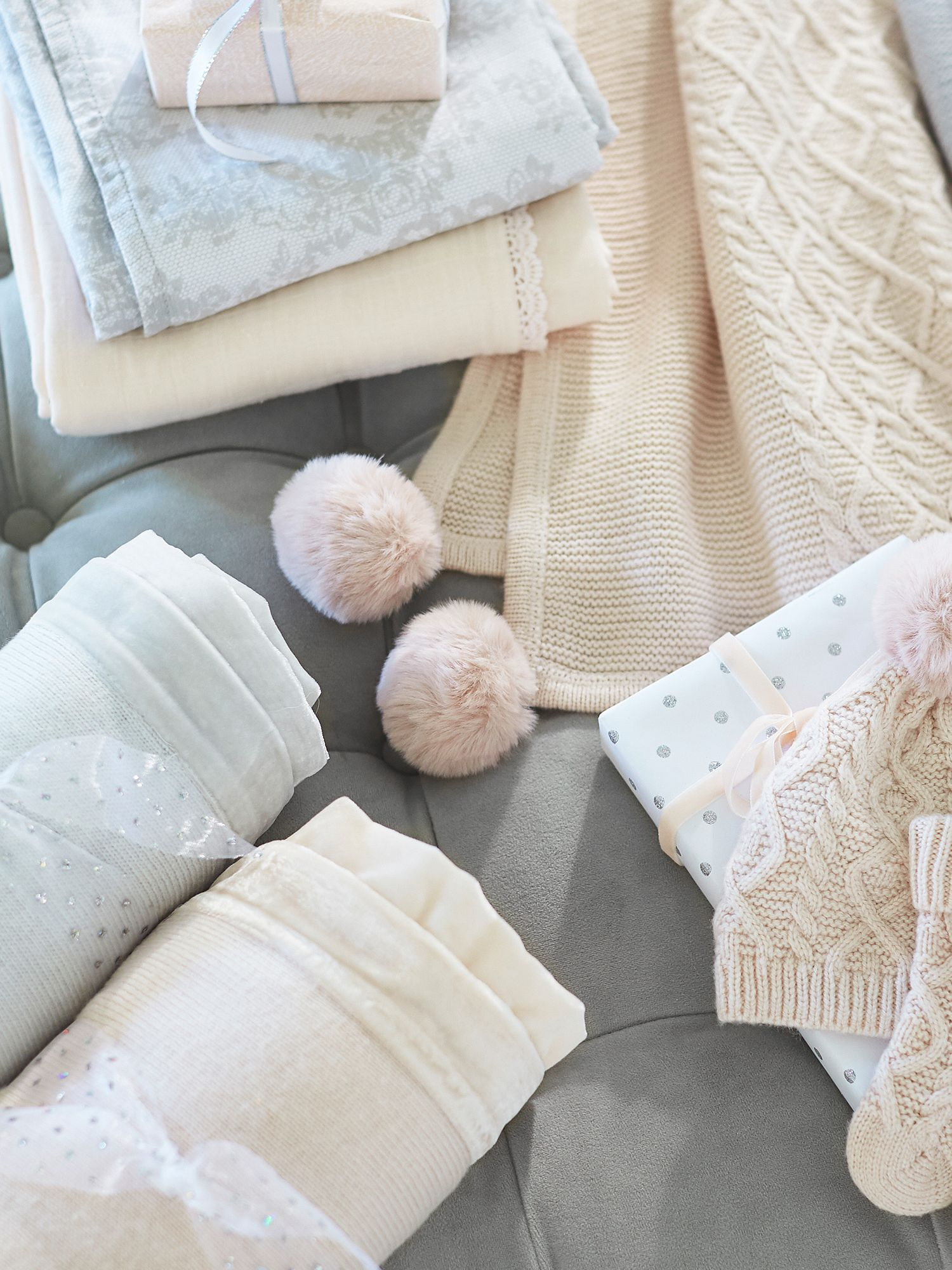 Pottery Barn Kids Cable Knit Pom Pom Baby Blanket Ivory At John Lewis Partners